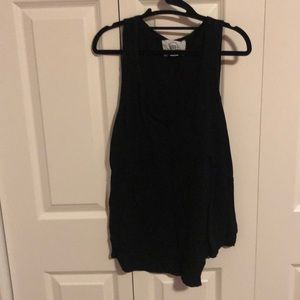 Black long soft cotton tank with stitching accent